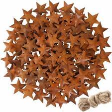 "150 Rusty Metal Star Pendants Ornaments 5 Point Craft Supplies 1.8"" + Twine"