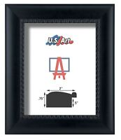 "US ART Frames Black Matte Bead 2.1/8"" Solid Wood Picture Frame Lots Sizes S/B"