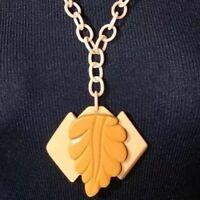 Modern Design Butterscotch & Creamed Corn Bakelite Necklace on Celluloid Chain