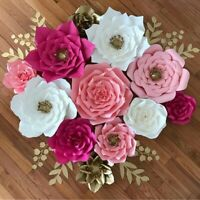 Pre-Made Rose Paper Flowers Wedding Party Backdrop Wall Wedding Decor 3D DIY