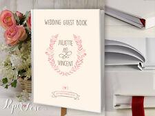 Grandes Del Libro De Visitas Boda Hecho Personalizado personalizado Flor Rosa Corona Rústico