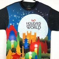 Disney Park Epcot T Shirt Medium M Black Holiday Around The World Stars Japan