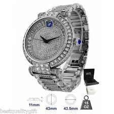 BLING MASTER MAESTRO SILVER TONE SET,PAVE CRYSTALS COVERED,GLITZ SWISS WATCH