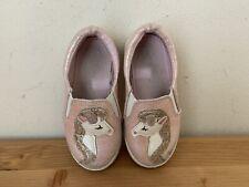 Cat & Jack Girls Sz 6 Pink Glitter Unicorn Slip On Shoes