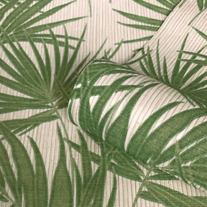 Aurora Cream and Green Palm Leaf on Bamboo Texture Wallpaper GB4990