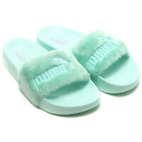 PUMA Fenty X By Rihanna Womens Faux Fur Slides Ladies Mint Green 365772