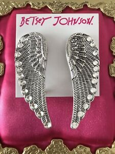 Betsey Johnson Throwback To Betsey LARGE Silver Angel Wing Cuff Wrap Earrings