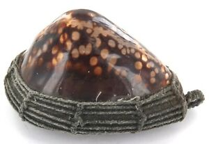 .SUPERB LARGE / OLD PACIFIC TRIBAL COWRIE SHELL PENDANT + WOVEN SPIDER WEB BACK