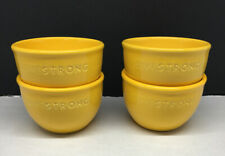 4~Chantal~Handcrafted Yellow Livestrong Bowls~1.5 Cup Oven Microwave Safe EUC!