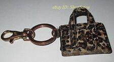 Used TORY BURCH Leopard Leather Mini Tote Keyfob Handbag Keychain Keyring