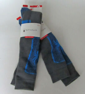 2 Pairs/Packs SPYDER Ski Socks Women's Youth Shoe Size 4-10 Gray/Blue NEW