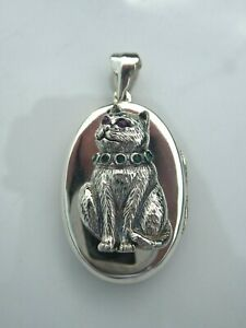 SOLID SILVER RUBY AND EMERALD CAT LOCKET