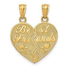 14K Yellow Gold Best Friends Heart Break Apart Pendants