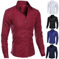 Business Mens Long Sleeve Solid Casual Shirts Slim Fit Party Wedding Shirts Tops