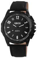 Qbos Herrenuhr Schwarz Analog Metall Kunst-Leder Quarz Armbanduhr X-2900046-001