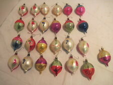 25 VTG. HAND PAINTED TEAR DROP INDENTS  GLASS CHRISTMAS TREE ORNAMENT HOLIDAY