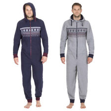 Onezee - Mens Gents Micro Fleece Hooded Nightwear - Warm Jumpsuit - New