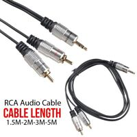 1.5M - 5M 3.5mm Jack to 2 RCA Aux Audio Lead Stereo Male Cable Twin Phono Gold