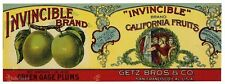 INVINCIBLE Brand, Warriors Getz *AN ORIGINAL 1920's TIN CAN LABEL* K09, wear