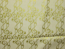 GOLD MUSIC NOTES NOTE WHITE BACKGROUND COTTON FABRIC BTHY