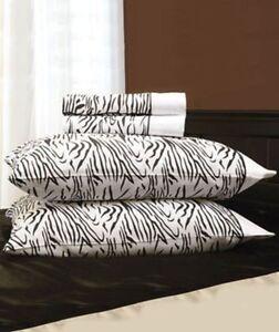 Queen Safari  Black White Zebra Animal Print Microfiber Sheet Set