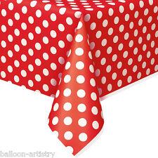 "54 ""X108"" ROSSO BIANCO Polka Dot Spot Stile Party Monouso Plastica TOVAGLIE"