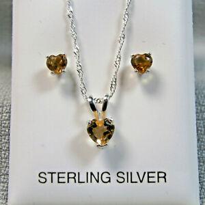 CITRINE - Genuine Gold Hearts 925 Sterling Necklace Earring Set November B'stone