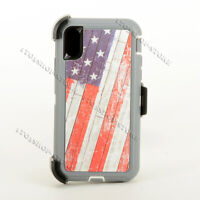 iPhone Xs Max Defender Hard Shell Case w/Holster Belt Clip - USA American Flag