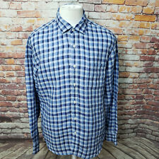 NEIMAN MARCUS MEN PLAID LINEN LONG SLEEVE CASUAL SHIRT SIZE L  A89-10