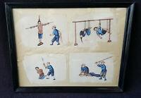 Gouache Canton papier de riz /moelle peinture chine 19ème Qing scènes torture