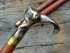 Antique Solid Brass Cat Head Handle Vintage Wooden Walking Stick Nautical Cane