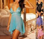 Sexy Lingerie Pink/ Purple/Blue/Black Babydoll Robe Chemise + G-String 184x