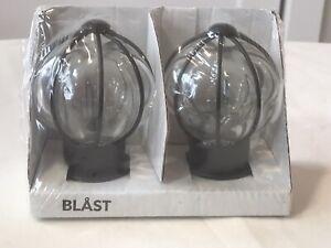 IKEA BLAST Glass Globe Black Steel Curtain Round Rod Finials 2 End Caps