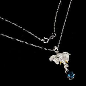 Pear London Blue Topaz Black Spinel Cz 925 Sterling Silver Elephant Necklace 18