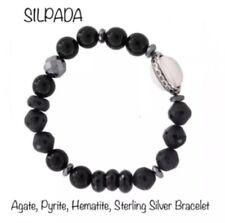 SILPADA Sterling Silver Pyrite Agate Hematite BLACKBOARD Stretch Bracelet