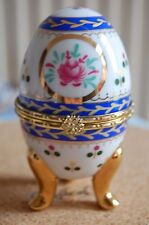 TRINKET BOX Jewelry Ring Pill Box Porcelain Footed Hand Painted EGG SEE DETAILS