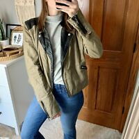 Free People Faux Leather & Linen Blend Moto Jacket Size 10 Medium