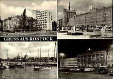 ROSTOCK DDR Mehrbild-AK u.a. HOG Hafen Lange Strasse Autos am Rathaus 1970