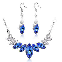 Royal Blue & Silver Crystal Bridal Jewellery Set Drop Earrings & Necklace S674