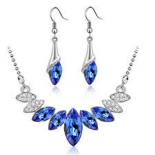 Reale Blu E Argento Cristallo Sposa Set Gioielli Orecchini A Goccia & Collana