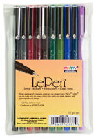 Marvy Uchida Le Pen Micro Fine Plastic Point Pen Acid Free 10 Colors Dark Set
