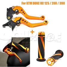 Short Handlebar Brake Clutch Lever Hand Grips Orange for KTM DUKE RC 390 125 200