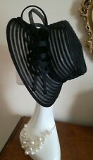 BHS Vintage Black Millinery Mesh Nylon Wedding Hat Ascot Fabulous!