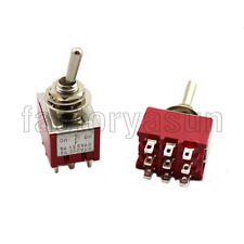 5PCS Red Toggle Switch 3PDT 3 Position ON-OFF-ON 9-PIN 12V 6A Silver Contacts