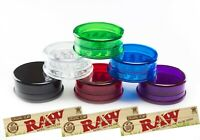 Plastic Grinder 3 Part 60mm Magnetic Shark Teeth With 3 X Raw Rolling Papers Kit