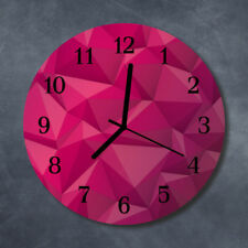 Glass Wall Clock Kitchen Clocks 30 cm round silent Abstract Pink