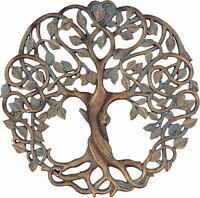GardenArt Cooper Tree of Life Plaque Sculpture Round Hanging Leaves Roots Rustic