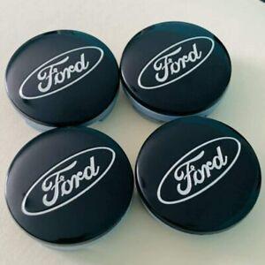 4pcs 54mm FORD Black  Silver Logo Badge Alloy Wheel Center Caps Hub Caps Rim Cap