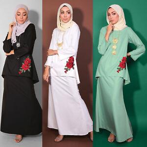 New Plus Size Women Muslimah Long sleeve Baju Kurung Embroidery Flower Lace