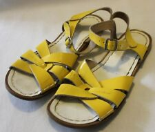 SALT WATER SANDALS ~ Yellow Patent Leather Flat Buckle Side Sandals 7 UK 6.5  39